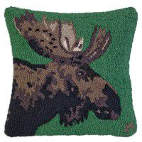 Major Moose on Green Wool Pillow