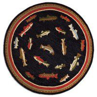 River Fish Round Hooked Rug