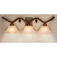 3D-Pine Cone and Needles Triple Vanity Light