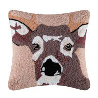 Deer in the Woods Hooked Pillow