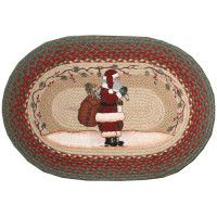 Oval Patch Santa Braided Rug