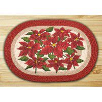Oval Poinsettia Braided Rug