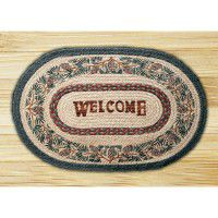 Welcome Pine Cone Jute Rug