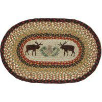 Hand Printed Moose and Pine Cone Place Mats and Runner