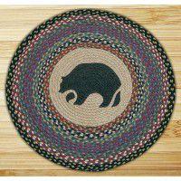 Round Black Bear Jute Rug