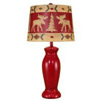 Red Jar Moose Table Lamp