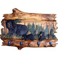 Bear Trio Carved Wood Coat Rack
