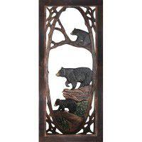 Bear Family Carved Screen Door