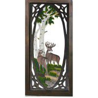 Whitetail Deer Carved Screen Door