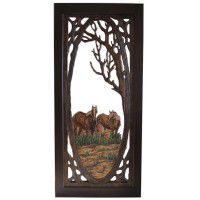 Horse Carved Screen Door