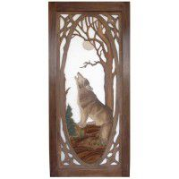 Wolf Carved Screen Door