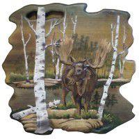 Birch Lake Moose Wood Wall Art