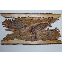 """The Leap"" Original and Signed Woodcarving 15 x 29"