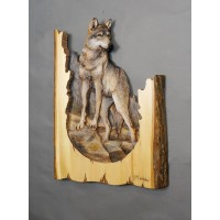 Gray Wolf Original and Signed Woodcarving 15 x 21