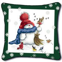 Sing for Spring Snowman Pillow