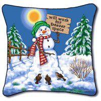 Freezer Space Snowman Pillow