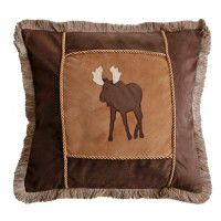 Fringed Brown Moose Pillow