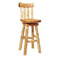 Log Bar Stool with Backrest
