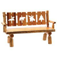 4 Panel Log Bench with Wildlife Cutouts
