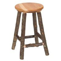 Round Hickory Bar Stool