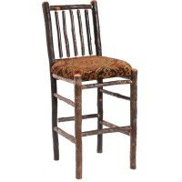 Upholstered Spindle Back Hickory Barstool