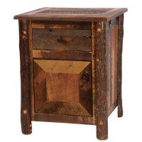 Barn Wood Enclosed Nightstand with Hickory Legs