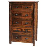 Premium 5 Drawer Barn Wood Dresser with Hickory Legs