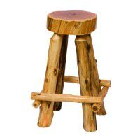 Slab Cedar Log Barstool with Footrest