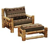Oversize Log Chair and Ottoman