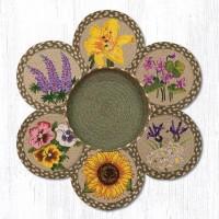 "Jute Blooming Flowers 10"" Trivets with Basket"
