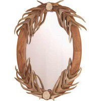 Oval Deer Antler Mirror