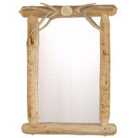 Lodgepole Mirror with Antler Accents