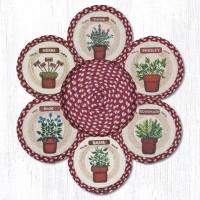 "Jute Gardening Herbs 10"" Trivet with Basket"