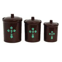 Turquoise Cross Canister Set