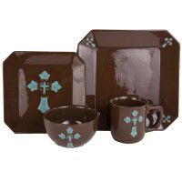 Turquoise Cross Dinnerware - 16 Pcs Service for 4