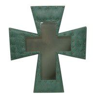 Faux Leather Cross Mirror