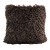 Mongolian Faux Fur Pillow-Brown