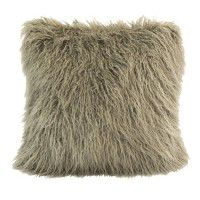Mongolian Faux Fur Pillow-Taupe