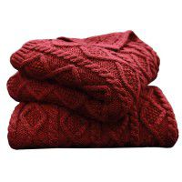 Red Cable Knit Throw