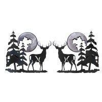 Deer and Pine Curtain Rod Brackets & Tie Backs