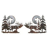 Elk and Pine Curtain Rod Brackets & Tie Backs