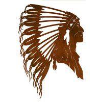 Indian Chief Head Metal Wall Art