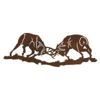 Fighting Bull Elk Metal Wall Art