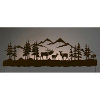 "42"" Elk Family Back Lit Wall Art"