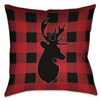 Buffalo Check Deer Pillow
