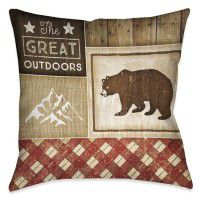 Country Cabin Bear Pillow