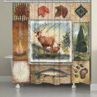 Wilderness Deer Collage Shower Curtain