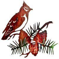 Cedar Waxwing Metal Wall Art-Discontinued