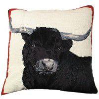 Black Steer Needlepoint Pillow