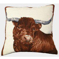 Red Steer Needlepoint Pillow